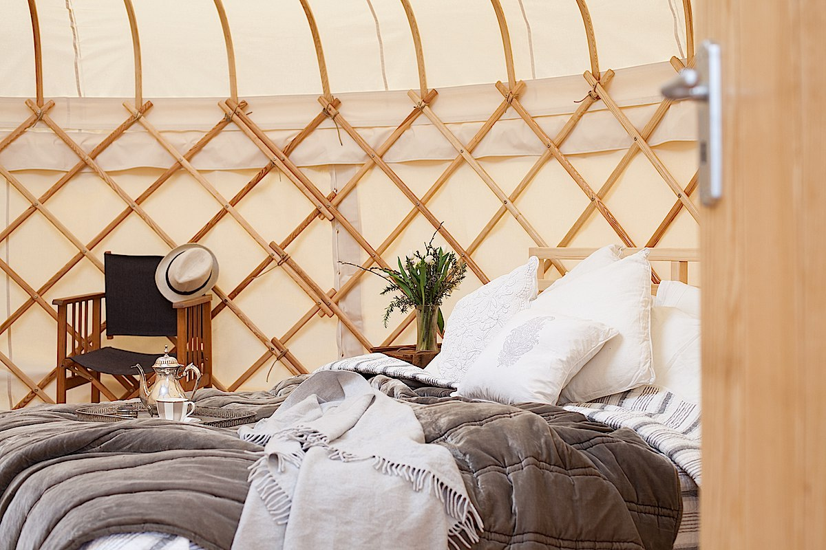 Stylish yurt with a full-size double bed