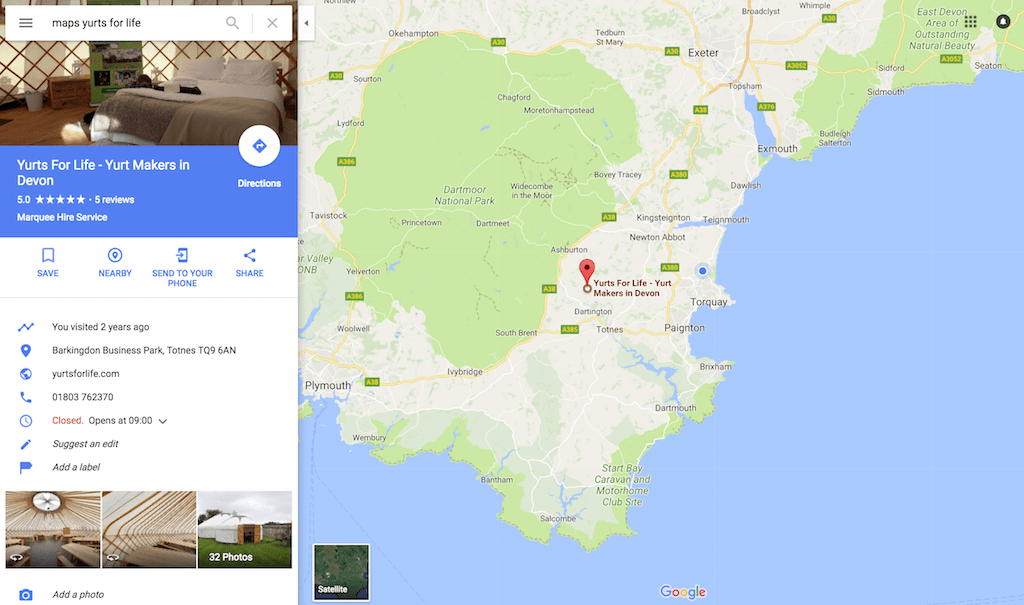 yurts for life on google maps