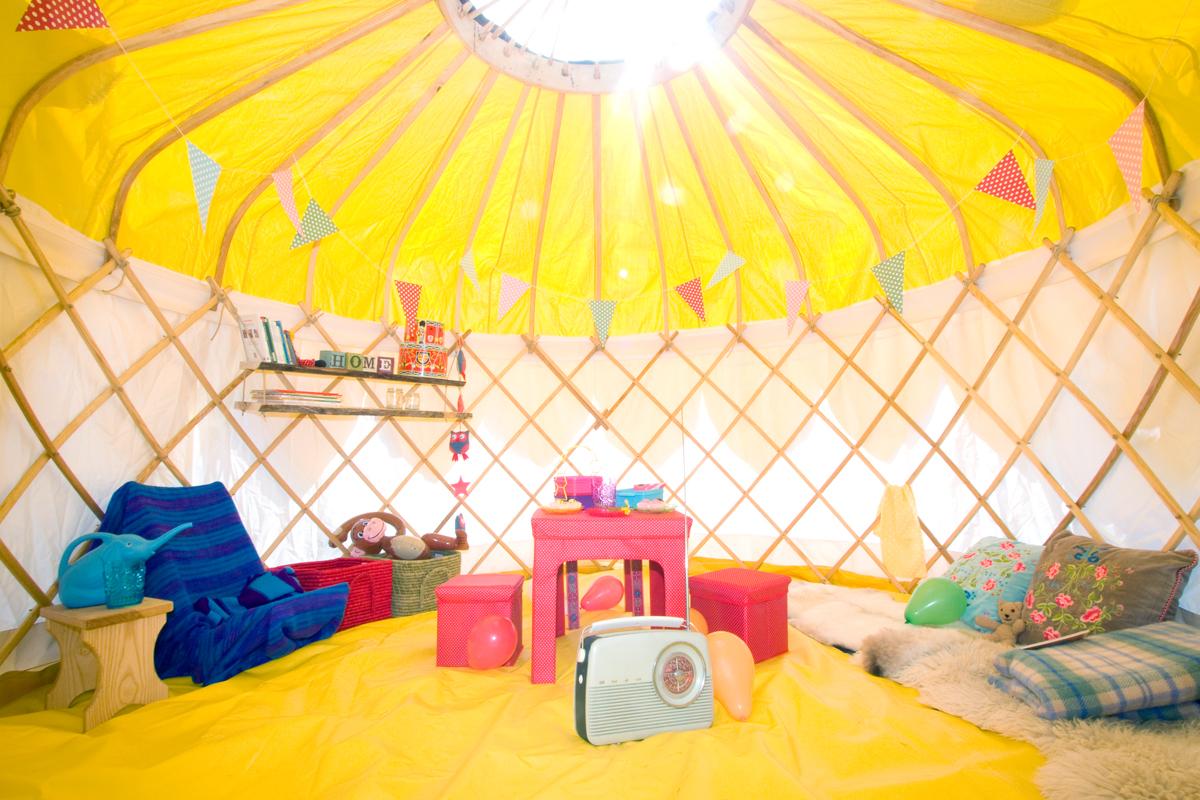 inside 16ft yurt