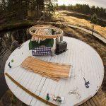 installation of 24ft Yurt Lounge