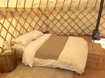 Glamping with a double bed